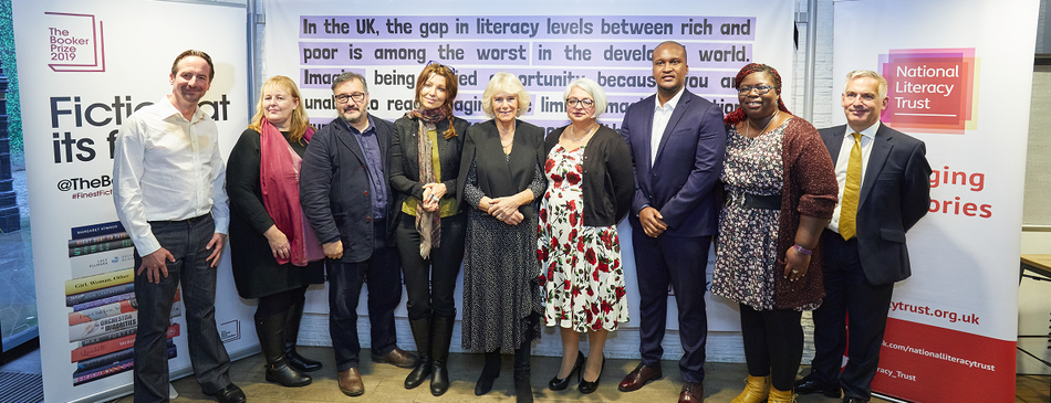 HRH The Duchess of Cornwall with supporters of Books Unlocked