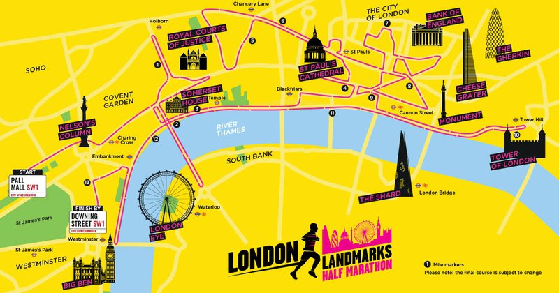 London Landmarks route map