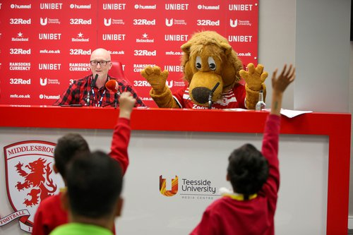 NewsWise press conference with Roary the Lion.jpg