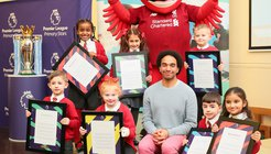 Premier League Writing Stars KS1 national winners - St. Finbars Catholic Primary School with Joseph Coelho & Mighty Red