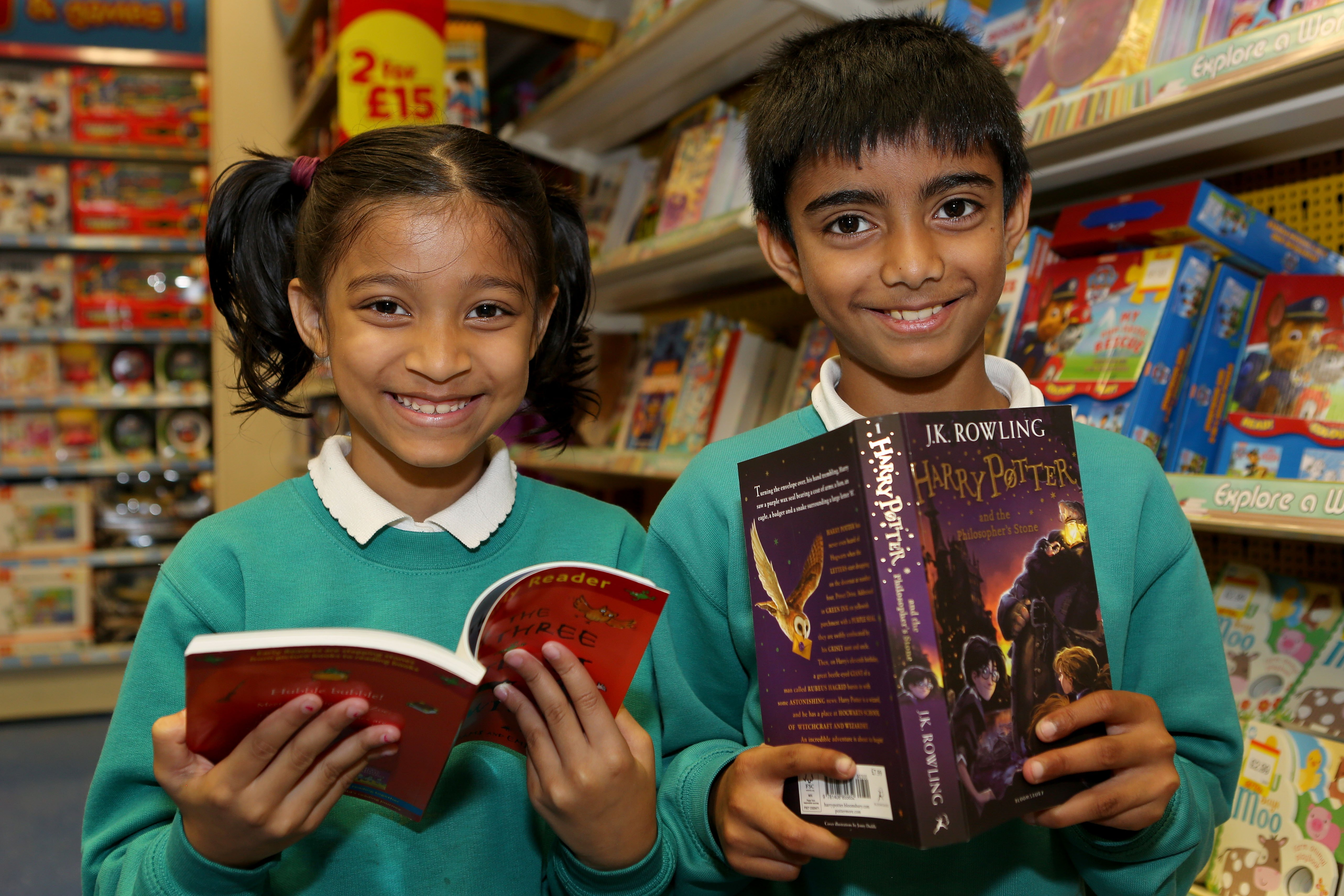 Pupils with their newly chosen books at Elk Mill Shopping Centre in Oldham.JPG