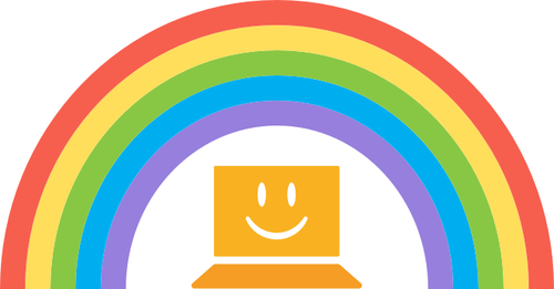 Touch-type Read and Spell rainbow logo