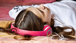 Girl listening to audiobook